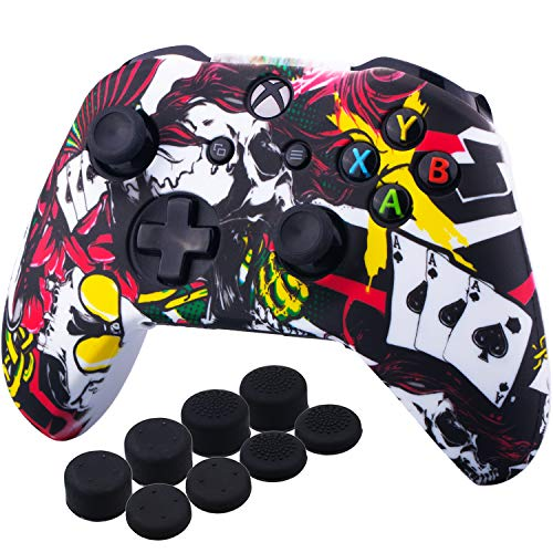 - YoRHa Printing Rubber Silicone Cover Skin Case for Xbox One S/X Controller x 1(Poker) With PRO Thumb Grips x 8