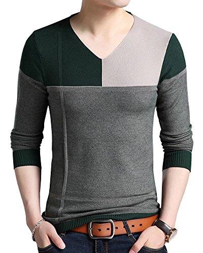 Wxian Men's Slim Fit Soft V-Collar Pullover (50s Letterman Sweater)