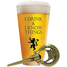 I Drink and I Know Things 17 oz Beer Glass + FREE Hand Of The King Bottle Opener Made In Casterly Rock – Game Of Thrones Inspired – Funny Novelty Gift - With Unique Gifts box included by Desired Cart