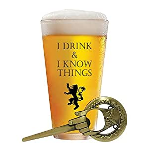 I Drink and I Know Things 17 oz Beer Glass + Free Hand of The King Bottle Opener Made in Casterly Rock - Game of Thrones Inspired - Funny Novelty Gift - with Unique Gifts Box Included by Desired Cart