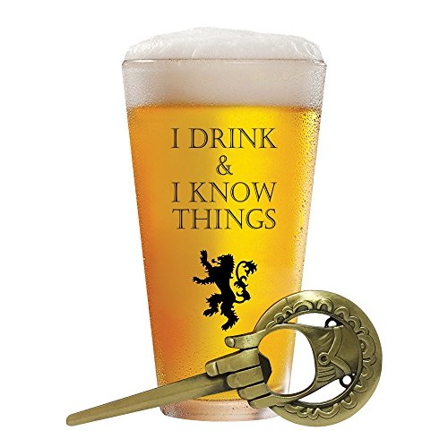 I Drink and I Know Things 17 oz Beer Glass + FREE Hand Of The King Bottle Opener Made In Casterly Rock - Game Of Thrones Inspired - Funny Novelty Gift - With Unique Gifts box included by Desired Cart - Fire Design Heavy Glass Ornament