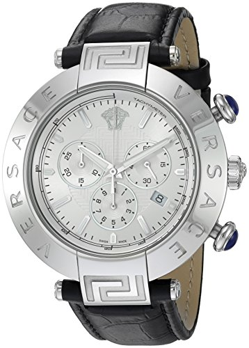 Versace Men's 'REVE CHRONO' Swiss Quartz Stainless Steel and Black Leather Casual Watch (Model: VQZ020015)