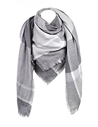 Cozy Checked Plaid Blanket Scarf - Soul Young Tartan Stylish Cape Wrap Shawl for Women and Men(Grey)