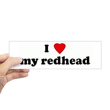 Cafepress i love my redhead bumper sticker 10x3 rectangle bumper sticker