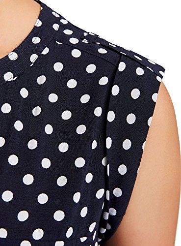 oodji Collection Mujer Blusa Estampada de Viscosa con Dos Bolsillos Azul (7910D)
