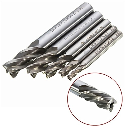Frese hss metallo 5 x 4/6/8/10/12 mm 4 taglienti elicoidali Mark8shop