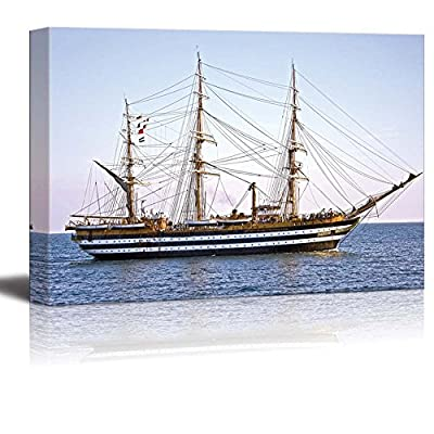 Canvas Prints Wall Art - Beautiful Old Wooden Sailing Vessel/Ship on The Sea | Modern Wall Decor/Home Decoration Stretched Gallery Canvas Wrap Giclee Print & Ready to Hang - 16