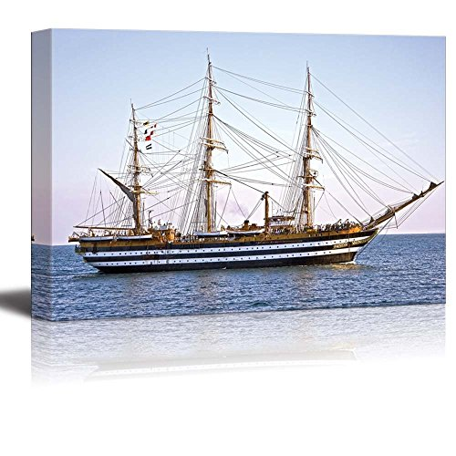 Canvas Prints Wall Art - Beautiful Old Wooden Sailing Vessel/Ship on The Sea | Modern Wall Decor/Home Decoration Stretched Gallery Canvas Wrap Giclee Print & Ready to Hang - 24