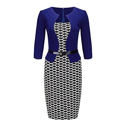 Bewish Women's Colorblock Fake Two Piece 3/4 Sleeve Belt Bodycon One Piece Dress Colorblock 2 Piece Dress