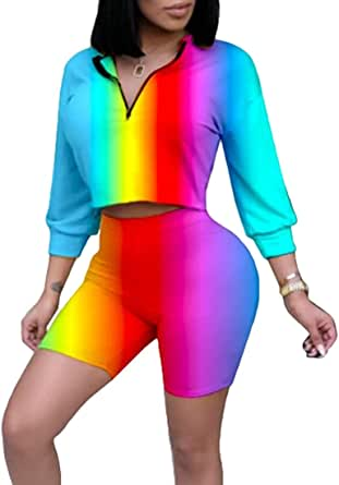 Women Leotard Color Block Two-Piece Sets Crop Tops Shorts Jogger Tracksuits White X-Small