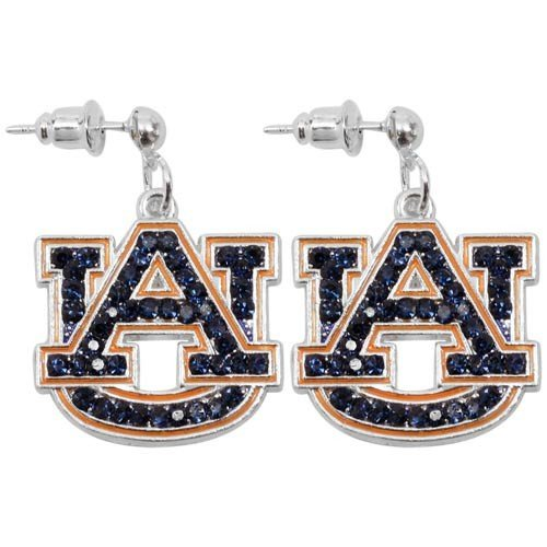 NCAA Auburn Tigers Rhinestone Logo Dangle Earrings by Seasons Jewelry