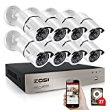 ZOSI 8CH FULL 1080P HD-TVI Video Security System DVR Recorder with 8 Weatherproof 1920TVL 2.0MP 100ft Night Vision Surveillance Camera System 2TB Hard Drive White (Aluminum Metal Housing)