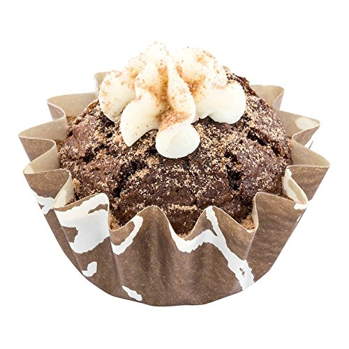 Panificio Premium 0.4-oz Baking Cups: Small-Flared Paper Baking Cups Perfect for Muffins, Cupcakes or Mini Snacks – Brown Chocolate Wisp Print Design – Disposable and Recyclable – 200-CT