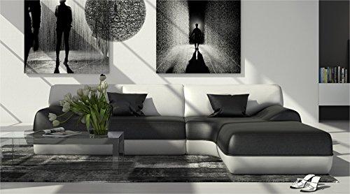 SAM® Design Ecksofa Sofagarnitur Impulso rechts in schwarz / weiß 260 x 220 cm Couch komplett bezogen Garnitur Sofalandschaft in schwarz mit weißen Akzenten inklusive Sofa Kissen Auslieferung mit Spedition montiert