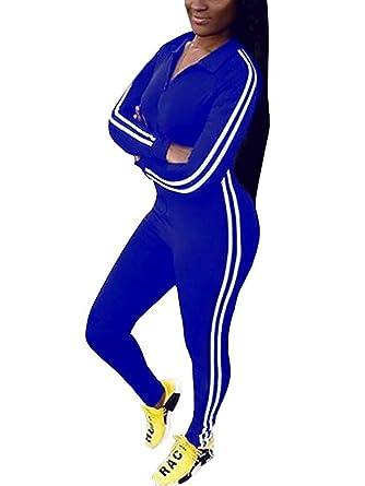 le dernier baea5 f9ed4 Tomwell Combinaison Femme Survêtements Manche Longue Casual Jumpsuit Zipper  Tops Pantalon Joggings Sport Romper