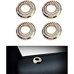 1797 Compatible Door Lock Pins Caps for Porsche Accessories Parts Cayenne Macan Panamera Bling Armrest Switch Regulator Covers Decals Stickers Interior Decorations Women Men Crystal Gold 4 Pack