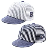 Baby Newborn Cool Boys Cotton Adjustable Baseball Cap Striped Sun Visors Peaked Hat Beret Cap (Black+Grey)