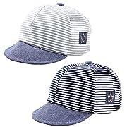 Baby Newborn Cool Boys Cotton Adjustable Baseball Cap Striped Sun Visors Peaked Hat Beret Cap (Black+Grey)