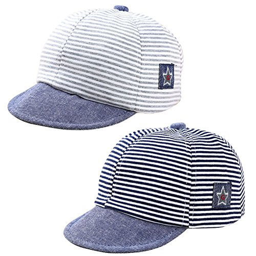 ys Cotton Adjustable Baseball Cap Striped Sun Visors Peaked Hat Beret Cap (Black+Grey) ()