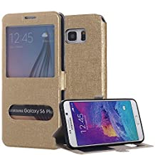 Galaxy S6 Edge Plus Case, Pandawell™ [Big Window] PU Leather Magnetic Closure Flip View Case Folio Stand Cover for Samsung Galaxy S6 Edge+ (Gold)