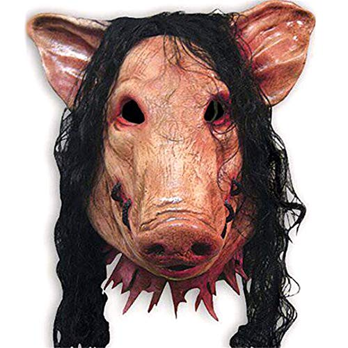 Saw Pig Head Scary Masks Novelty Halloween Mask with Hair Halloween Mask Caveira Cosplay Costume Latex Festival Supplies]()