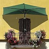 9 Foot Green Half Umbrella w/ Off the Wall Tilt Patio