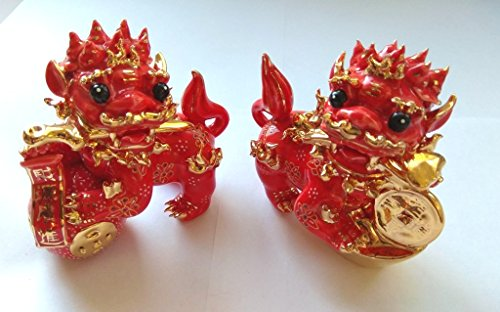 - Feng Shui Pair of Fu Foo Dog Chinese Guardian Lion Statues - Hand Crafted and Decorated Fine Chinese Porcelain, Two Statues D04040 (Red)