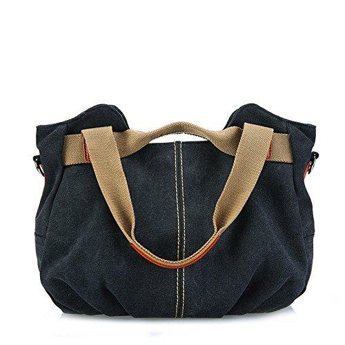 fanhappygo Damen Canvas Umhängetasche Messenger Bag Schultertasche Handtasche Henkeltasche Shopper Tasche schwarz