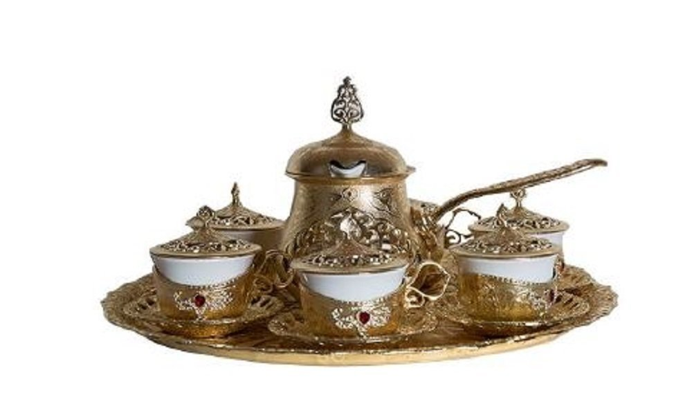 Traditional Turkish Style Coffee Serving Set with Coffee Warmer with Colored Stone Insets (Gold)