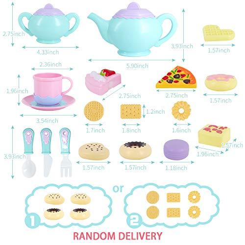 Toys Tea Set 52 Pieces Party Play Food for Kids,Princess Tea Time Toy Set Including Dessert,Cookies,Tea Party…