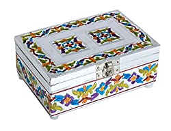 Unique Chrome Plated Wooden Jewelry Box (6 x 4 inches) with Enameling Art Beautiful Gift Ideas