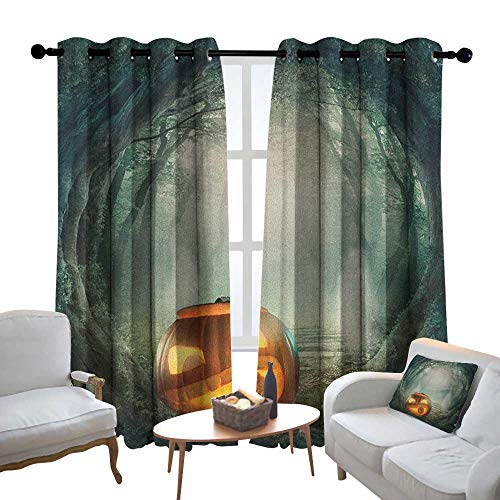 Blackout Curtains Halloween,Drawing of Scary Halloween Pumpkin Enchanted Forest Mystic Twilight Party Art, Orange Teal,Thermal Insulated Panels Home Décor Window Draperies for Bedroom 84