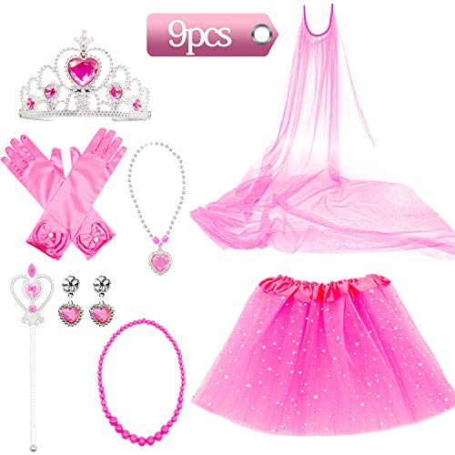 (Princess Dress Up Costume Accessories Aurora Set For Princess cosplay Gloves Tiara Wand and Necklace (9)