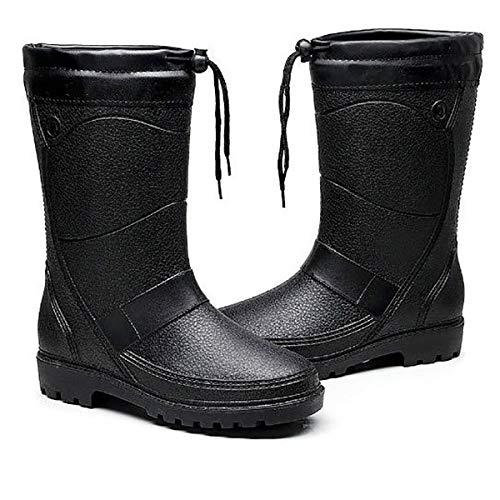 Fad-J Winter Men's rain Boots, Fashion high-Slip Anti-Skid Rubber rain Boots, Thick Velvet Warm car wash Fishing,Black,42