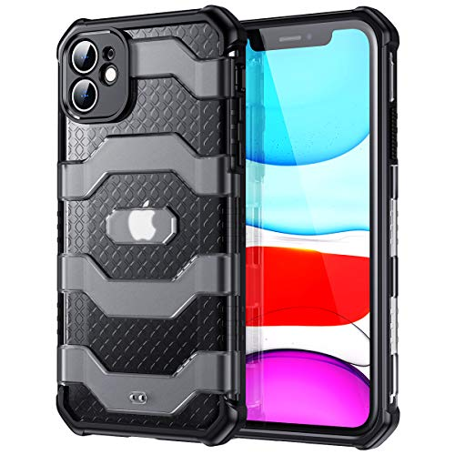 Meifigno Heavy Duty Designed for iPhone 11 Case [Full Camera Len Protection][Military Grade Shockproof] Hard Back with TPU Bumper, Armor Hybrid Case Compatible with iPhone 11 6.1 Inch (2019) - Black