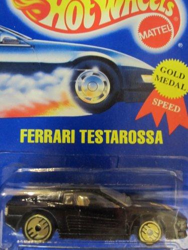 Ferrari Testarossa Hot Wheels 1995 Gold Medal Speed #35 Black with Golden Ultra Hot Wheels on Solid Blue - Ferrari Gold