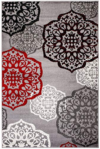 New Summit Elite S 53 Moroccan Madallions Gray White Black Red Modern Abstract Area Rug (8x11 Actual Size is 7'.4''x10.6'') (Rugs Black Red)