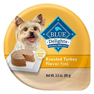 Blue Buffalo Delights Natural Adult Small Breed Wet Dog Food Cups, Roasted Turkey Flavor in Savory Juice 3.5-oz (Pack of 12)