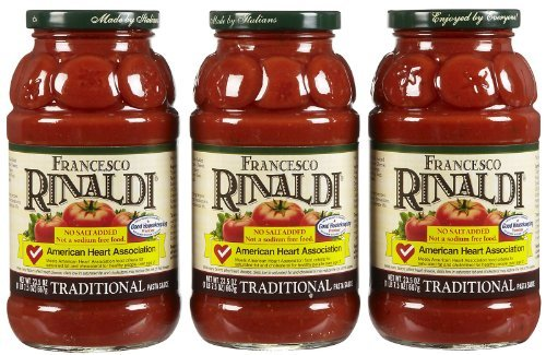 (Francesco Rinaldi Traditional Pasta Sauce, No Salt Added, 23.5 oz, 3 pk)