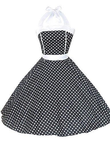 PU&PU Robe Aux femmes Grandes Tailles / Sexy / Vintage / Soirée / Décontracté Mi-long Coton , black-l , black-l