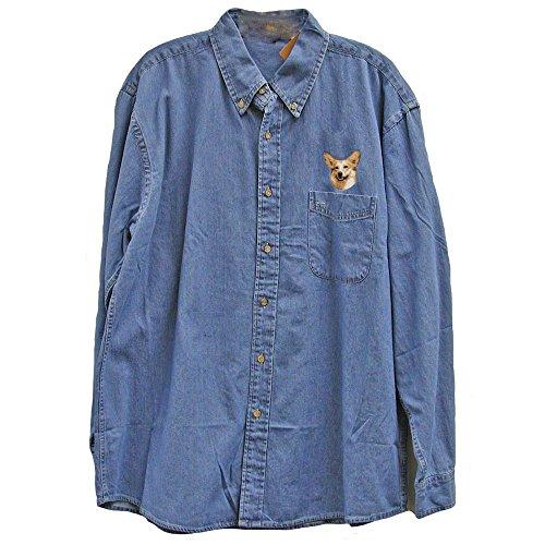 Cherrybrook Dog Breed Embroidered Mens Denim Shirts - Medium - Denim - Pembroke Welsh - Denim Breed Shirt