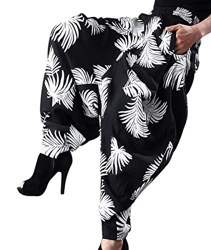 (YESNO Women Summer Casual Loose Cropped Baggy Harem Pants Low Crotch Hippy Style 'Leaves' Printed Irregular Cuff/Pockets PKL)