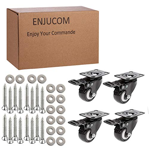 """Enjucom 2"""" Swivel Caster Wheels with Safety Dual Locking Heavy Duty 600Lbs Set of 4 with Brake,150 LBS Per Caster (Pack of 4), (16 x Stainless Steel Screw 18-8 [Size:M5X20],16 x washers[Size:M5])"""