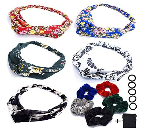 MALAYA 16 pc set Scrunchies and BOHO Headband Turban Knot Criss Cross Headwrap Twisted Headband Accessories Set, Velvet Scrunchies Turban Elastic Headbands BOHO style, with Nylon Hairbands Set ()