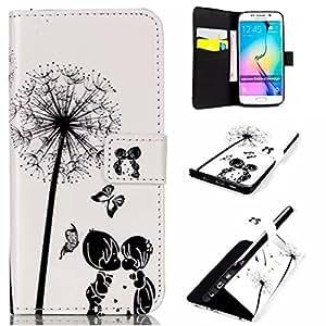 Samsung Galaxy S6 Edge/G9250 3D Escultura Funda,EMAXELERS Synthetic PU Cuero Billetera Iman Dise?o Flip Stand 3D Escultura Funda Cover Para Samsung Galaxy S6 Edge/G9250 + Send 1 Stylus Pen(Kissing couple)