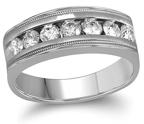 1 White Gold Single Band (Roy Rose Jewelry 10K White Gold Mens Round Diamond Single Row Milgrain Wedding Band Ring 1-Carat tw ~ Size 10)