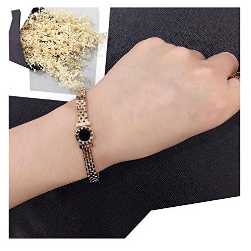 Pendant Watch Gold Overlay (18K Rose Gold Fashion women Love Bangle Bracelet Vintage Watch)