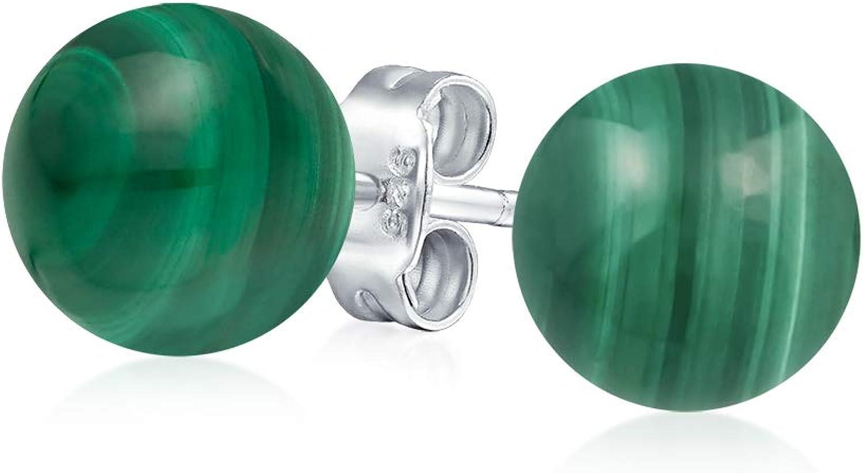 Simple Piedras Preciosa Verde Malaquita Pendiente De Boton Bola Redonda Para Mujer 925 Plata De Ley 925 6Mm