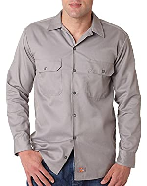 Adult Generous Fit Button Down Front Pocket Work Shirt