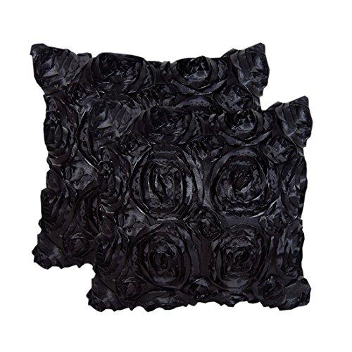 E'Plaza 2pcs Black 3D Raised Ribbon Roses Cushion Covers Throw Pillow Cases 16X16 (2, Black)